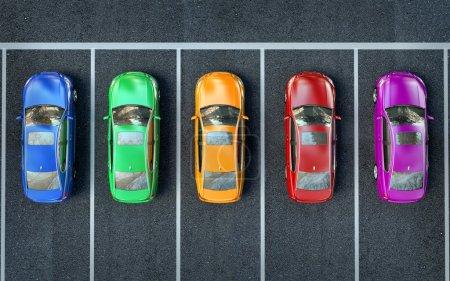 Photo pour Voitures de couleur sont dans le parking ou se préparer pour la course - image libre de droit