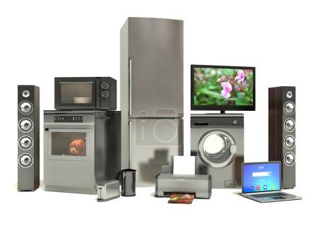 Photo pour Appareils ménagers. Cuisinière à gaz, TV cinéma, réfrigérateur climatiseur micro-ondes, ordinateur portable et lave-linge - image libre de droit