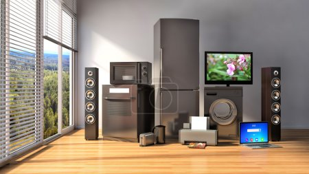 Photo for Home appliances. Gas cooker, tv cinema, refrigerator, microwave, laptop and washing machine. 3d illustration - Royalty Free Image