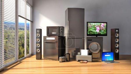 Photo pour Appareils ménagers. Cuisinière à gaz, TV cinéma, réfrigérateur, micro-ondes, ordinateur portable et lave-linge. Illustration 3d - image libre de droit