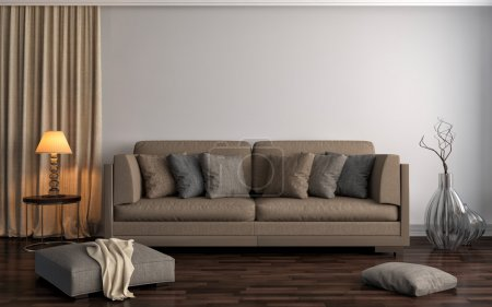 Photo for Interior with brown sofa. 3d illustration - Royalty Free Image