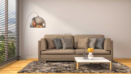 Foto de Interior con sofá azul. Ilustración 3D - Imagen libre de derechos
