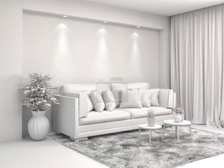 Photo pour Intérieur avec canapé et CAO filaire mesh. illustration 3D - image libre de droit