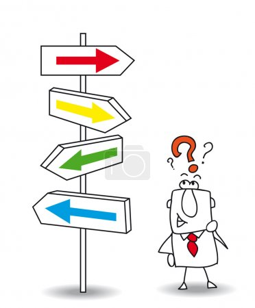 Illustration for Joe wants to find a solution. you walk your way Joe, it's your choice - Royalty Free Image