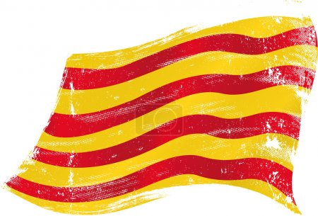 Flag of Catalonia in the wind with a texture...
