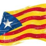 Flag of Catalonia Estelada blava in the wind with ...