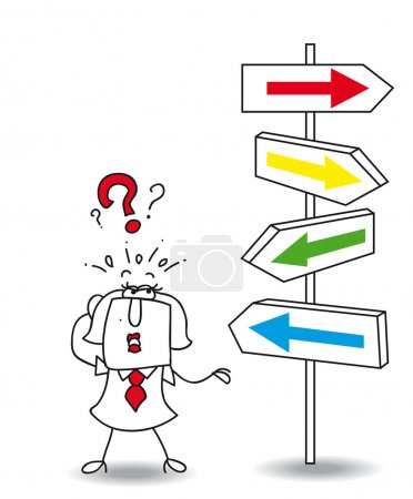 Illustration for Karen wants to find a solution. you walk your way Karen, it's your choice - Royalty Free Image