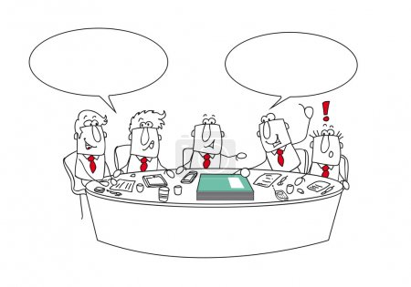 Illustration for This managers aretalking arround the table. It's an important meeting. Joe is giving  his annual report - Royalty Free Image