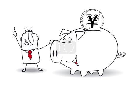 Sparschwein und japanischer Yen