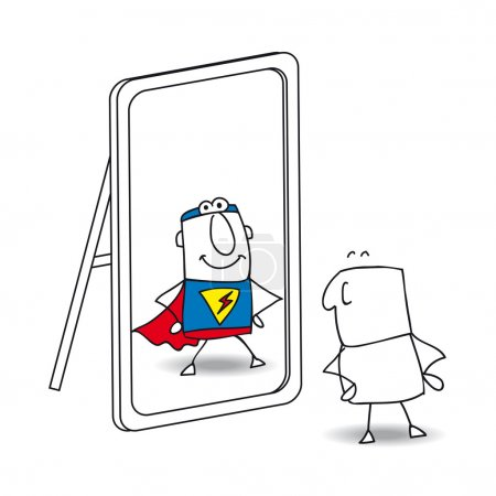 Illustration for Joe looks in the mirror. He sees a superhero in the reflection. It's a metaphor of the power which is in each person - Royalty Free Image