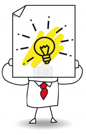 Illustration for Businessman holds a sheet of paper on which is a light bulb. It is a metaphor. He has a good idea - Royalty Free Image