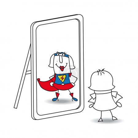 Illustration for Businesswoman looks in the mirror. She sees a super woman in the reflection. It's a metaphor of the power which is in each person - Royalty Free Image
