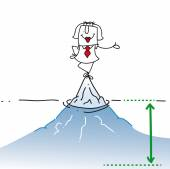 Businesswoman is on the top of the iceberg It is a concept of her many problems which are hidden