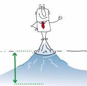 Businessman is on the top of the iceberg It is a concept of his many problems which are hidden