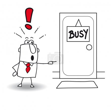 """Illustration for Businessman is in front of a door with the sign """"busy"""". Does it come in ? His boss is very busy - Royalty Free Image"""