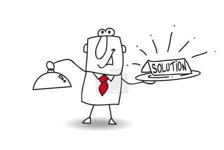 Illustration pour Homme d'affaires apporte un plateau avec la solution mot - image libre de droit