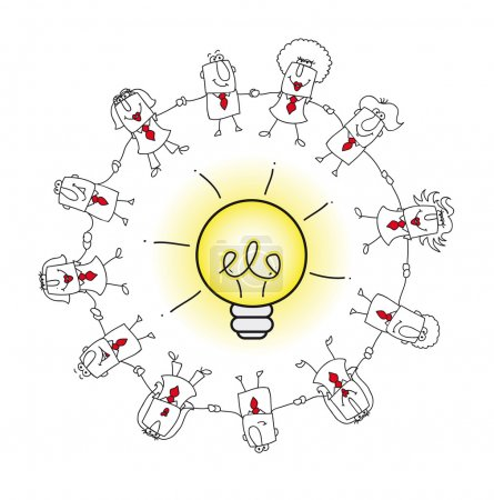 business team around an idea bulb.