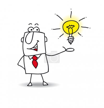 Illustration for Joe the businessman is very intelligent. He presents his idea - Royalty Free Image