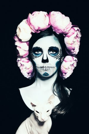 Photo for Halloween Woman with Sugar Skull Makeup - Royalty Free Image