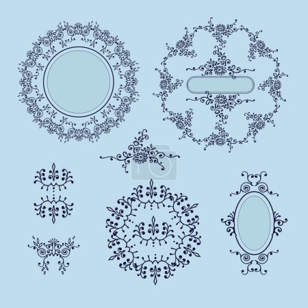 Illustration for Set ornaments round and oval with place for text. Elements of the ornament. Blue background. - Royalty Free Image