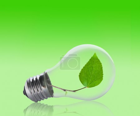 Photo for Light bulb with a leaf growing inside. Environment, eco technology and energy concept. - Royalty Free Image
