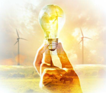 Foto de Doble exposición. Bombilla de mano sobre un fondo de aerogenerador. Medio ambiente, ecotecnología y concepto energético . - Imagen libre de derechos