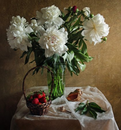 Still life with peonies strawberries and sea shell