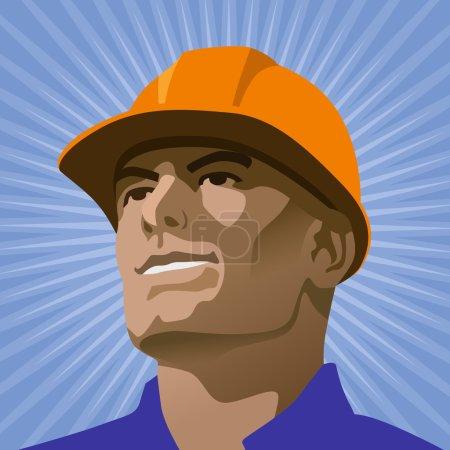 Illustration pour Ouvrier de la construction masculin regardant dans la distance - image libre de droit