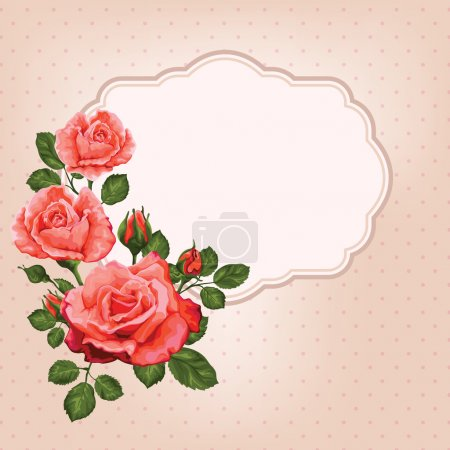 Vintage card with roses and frame