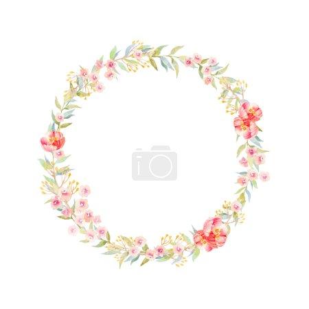 Photo pour Couronne de fleurs aquarelle dessinée à la main - image libre de droit