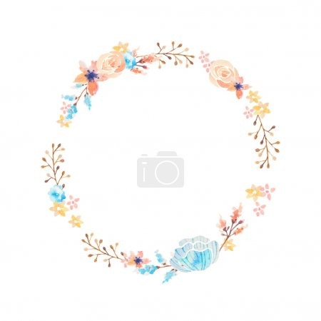 Photo for Hand drawn watercolor flower wreath - Royalty Free Image
