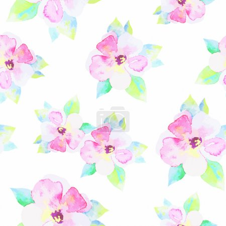 Illustration for Seamless pattern with beautiful watercolor flowers - Royalty Free Image