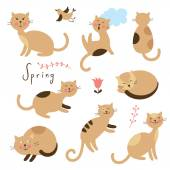 Set of vector cute cats Cartoon cats in various poses