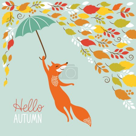Illustration for Cute fox fly with umbrella. Vector illustration - Royalty Free Image