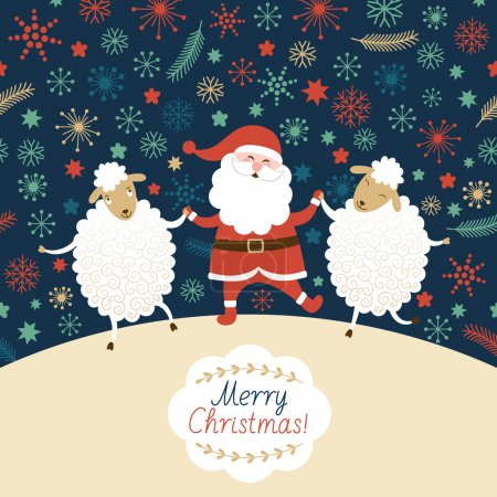 Dancing Santa with sheeps
