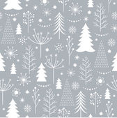 Seamless gray Christmas pattern with treessnowflakes and stars