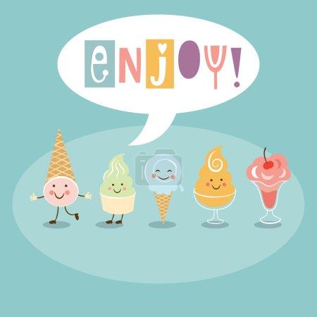 Illustration pour Crème glacée drôle, profiter lettering.Vector illustration - image libre de droit