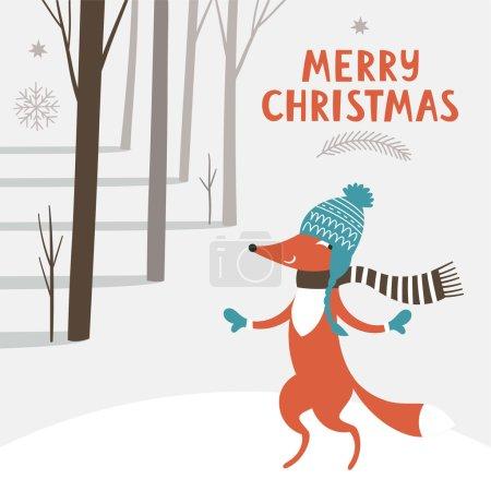 Greeting Christmas card with fox