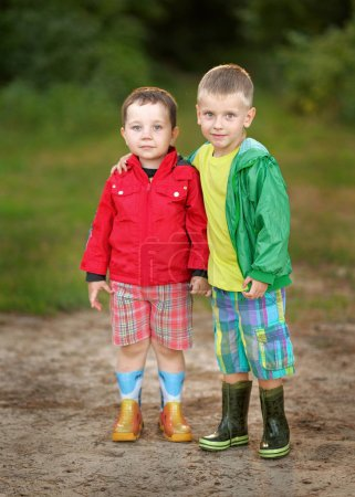 portrait of two little boys friends  in summer