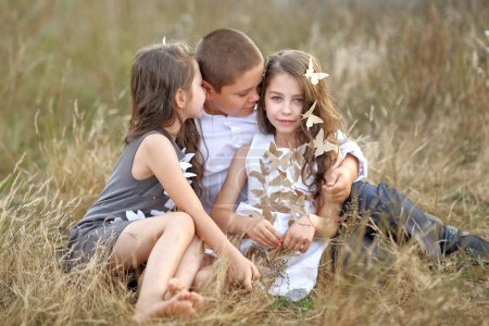 Portrait of young children in autumn