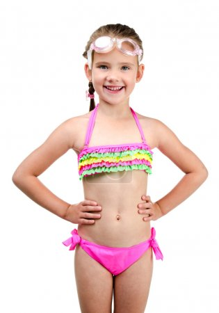 Cute happy little girl in swimsuit and glasses