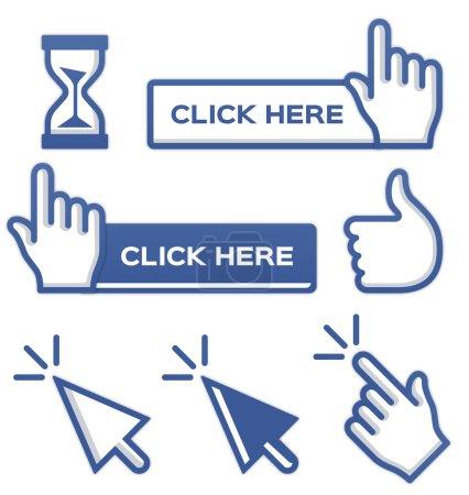 Illustration pour Curseurs et boutons bleus pour les médias sociaux . - image libre de droit