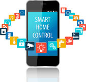 Smartphone with Smart House Apps Internet of things concept illustrationControlling your home appliances with Smartphone Apps Smart house technology system with centralized control
