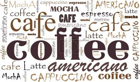 Illustration pour Café de fond Différents mélanges et types. Icônes et mots croquants de café - image libre de droit