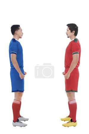 football players facing each other