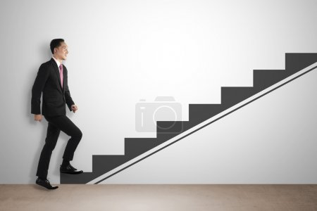Photo for Business man step up imaginary stair. Career development concept - Royalty Free Image