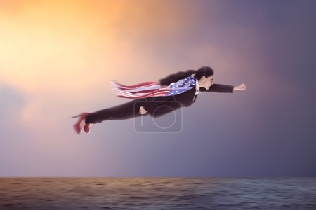 Woman Flying Over The Ocean