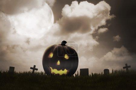 Jack O'Lantern on the graveyard