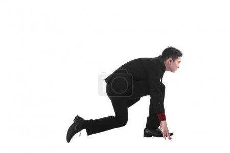 Photo for Asian business man start running isolated over white background - Royalty Free Image
