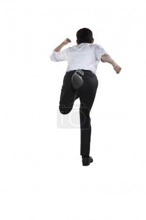 Back view of business person running
